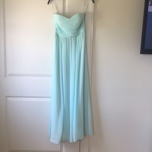 Donna Morgan seafoam bridesmaid dress